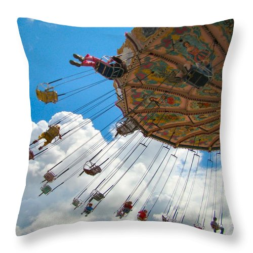 Swings Throw Pillow featuring the photograph A Fair Day by Gothicrow Images