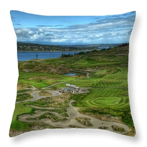 Chambers Creek Throw Pillow featuring the photograph A Fairway To Heaven - Chambers Bay Golf Course by Chris Anderson