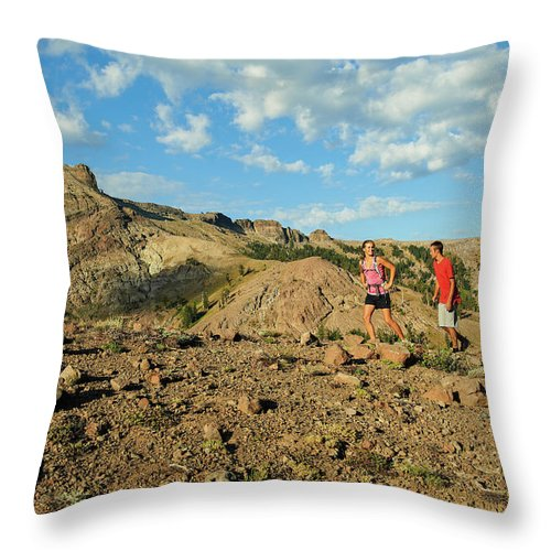 Adventure Throw Pillow featuring the photograph A Family Enjoys The Views by Jack Affleck