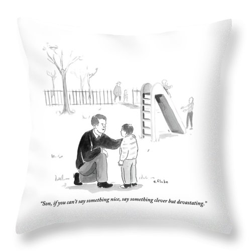 Advice Throw Pillow featuring the drawing A Father Encourages His Son At The Playground by Emily Flake