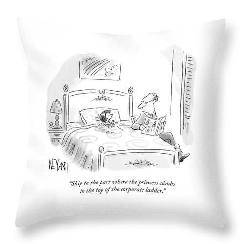 A Father Reads His Daughter A Bedtime Story Throw Pillow