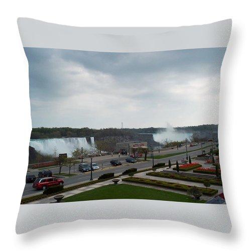 Niagara Falls Throw Pillow featuring the photograph A Favorite Walkway by Barbara McDevitt