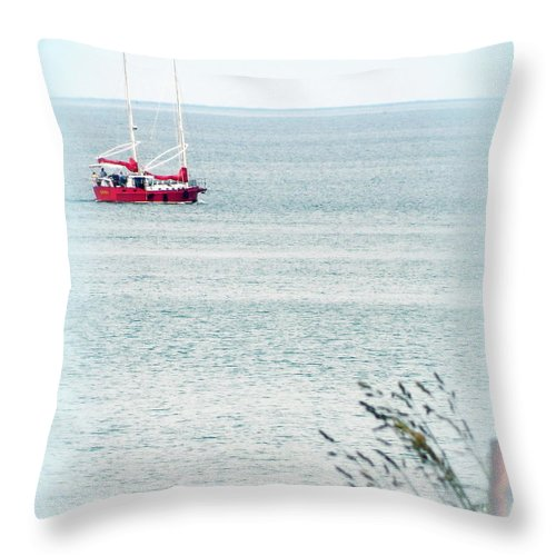 Boat Throw Pillow featuring the photograph A Fine Day For A Red Boat by Kathy Barney
