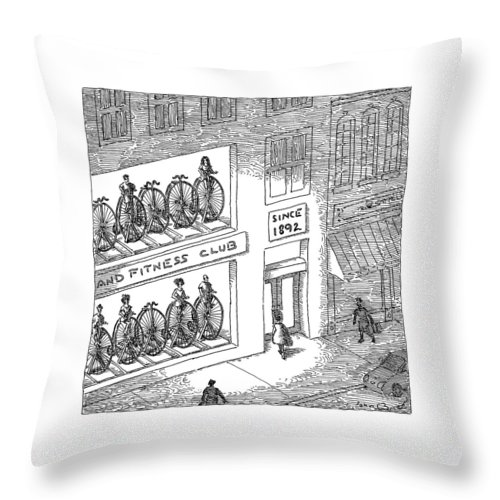 Captionless Bicycle Throw Pillow featuring the drawing A Fitness Club With Sign by John O'Brien