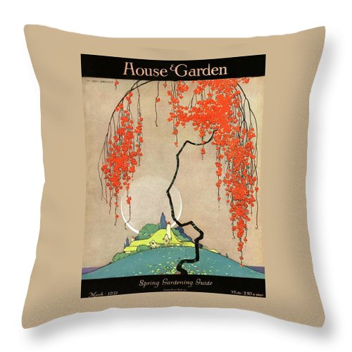 House And Garden Throw Pillow featuring the photograph A Flowering Tree by H. George Brandt