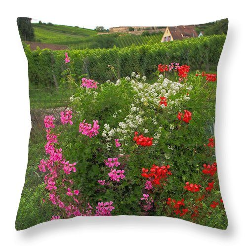 Church Throw Pillow featuring the photograph A French Country Church by Dave Mills