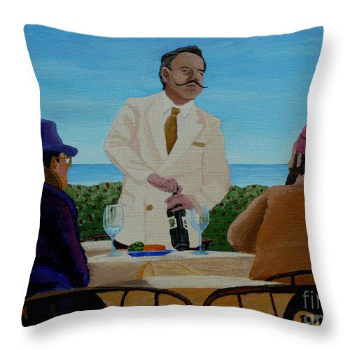 Wine Throw Pillow featuring the painting A Fresh Bottle by Anthony Dunphy