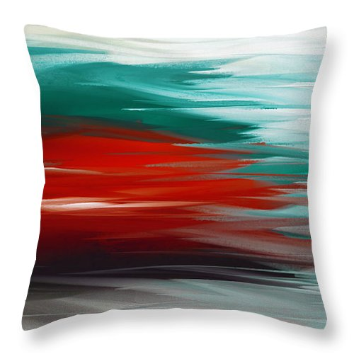 Abstract Throw Pillow featuring the digital art A Frozen Sunset Abstract by Andee Design