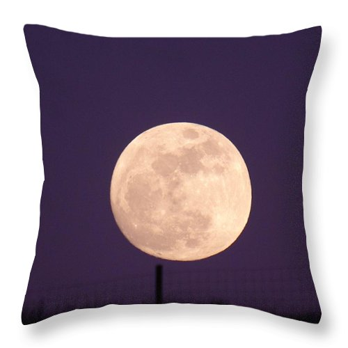 Moon Throw Pillow featuring the photograph A Full Moon Behind My Fence by Jeff Swan