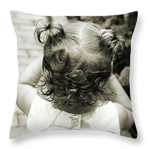 Girl Throw Pillow featuring the photograph A Girl And Her Curls by Andee Design