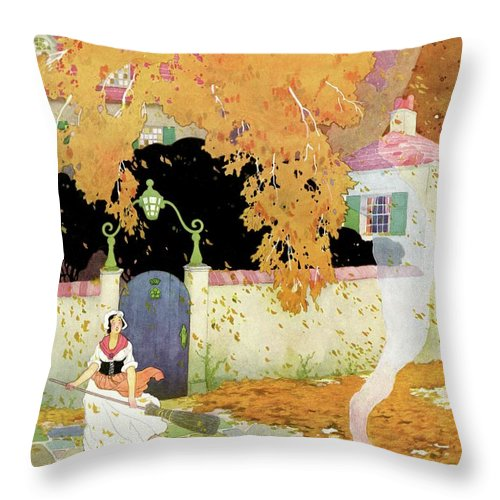 House And Garden Throw Pillow featuring the photograph A Girl Sweeping Leaves by The Reeses