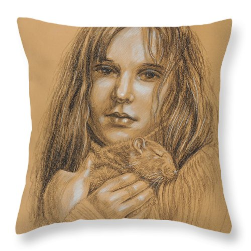 Girl Throw Pillow featuring the drawing A Girl With The Pet by Irina Sztukowski