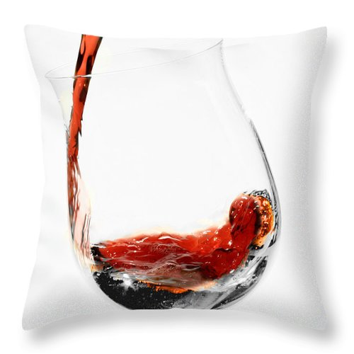 Wine Throw Pillow featuring the photograph A Glass Of Wine by Carlos Diaz