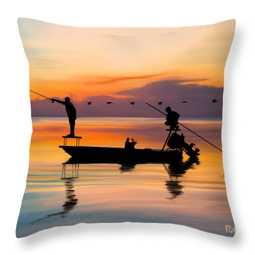 Fishing Throw Pillow featuring the digital art A Glorious Day by Kevin Putman