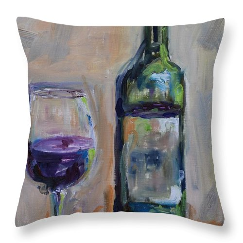 Wine Throw Pillow featuring the painting A Good Pour by Donna Tuten