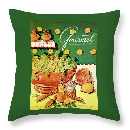 Food Throw Pillow featuring the photograph A Gourmet Cover Of Dandelion Salad by Henry Stahlhut
