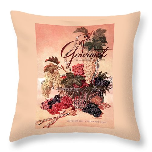 Illustration Throw Pillow featuring the photograph A Gourmet Cover Of Grapes by Henry Stahlhut