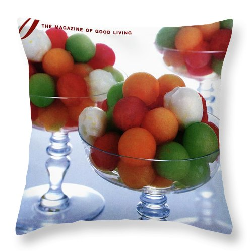 Food Throw Pillow featuring the photograph A Gourmet Cover Of Melon Balls by Romulo Yanes