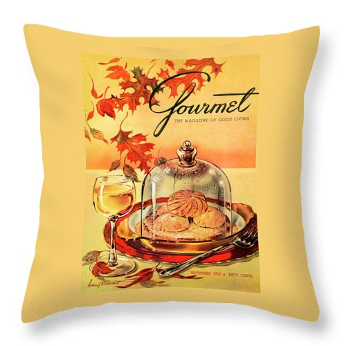 Illustration Throw Pillow featuring the photograph A Gourmet Cover Of Mushrooms On Toast by Henry Stahlhut