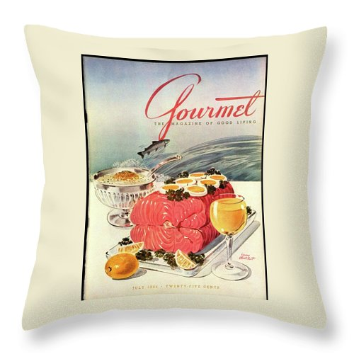 Food Throw Pillow featuring the photograph A Gourmet Cover Of Poached Salmon by Henry Stahlhut