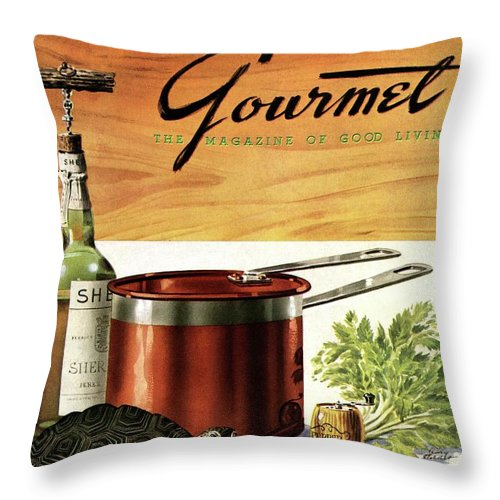 Illustration Throw Pillow featuring the photograph A Gourmet Cover Of Turtle Soup Ingredients by Henry Stahlhut