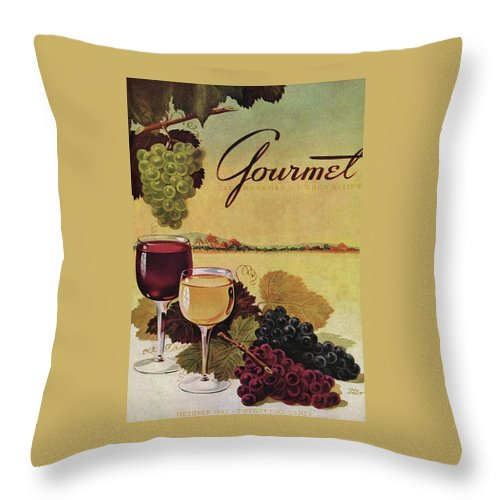 A Gourmet Cover Of Wine Throw Pillow