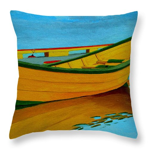 Grand Banks Throw Pillow featuring the painting A Grand Banks Dory by Anthony Dunphy