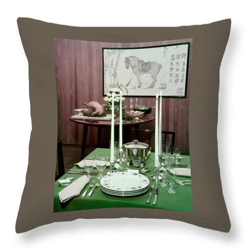 A Green Table Throw Pillow