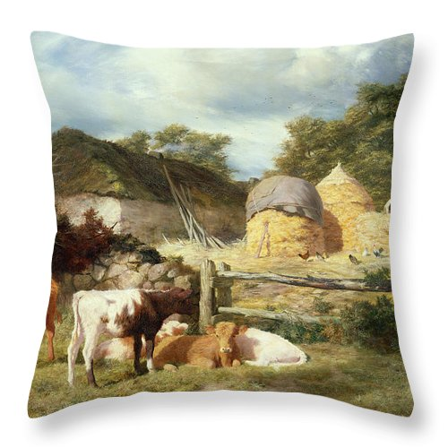 Scottish Throw Pillow featuring the painting A Highland Croft, 1873 by Peter Graham