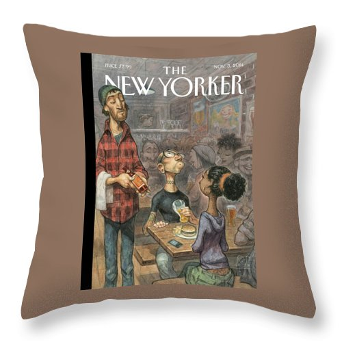 Elite Throw Pillow featuring the painting Hip Hops by Peter de Seve