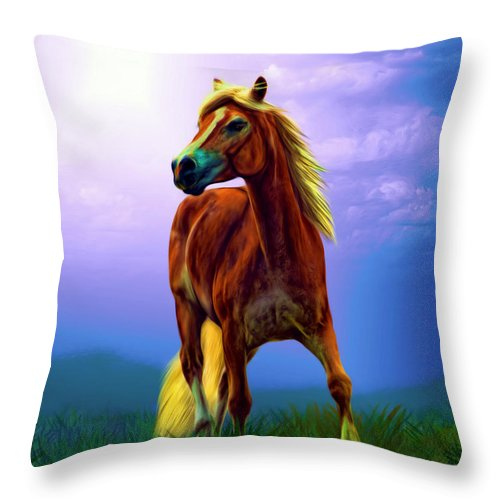 Horse Throw Pillow featuring the painting A Horse Called Sheba by Tyler Robbins