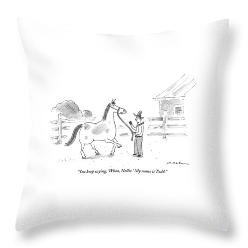 A Horse Speaks To A Cowboy Trying To Calm Throw Pillow