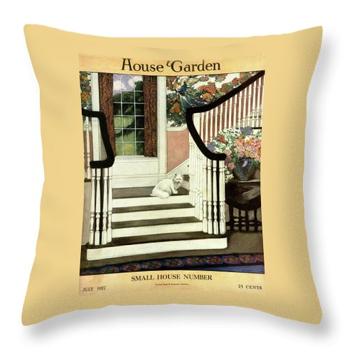 Animal Throw Pillow featuring the photograph A House And Garden Cover Of A Cat On A Staircase by Ethel Franklin Betts Baines