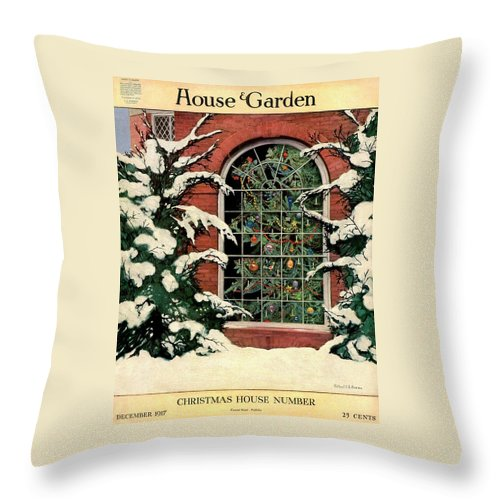 Illustration Throw Pillow featuring the photograph A House And Garden Cover Of A Christmas Tree by Ethel Franklin Betts Baines