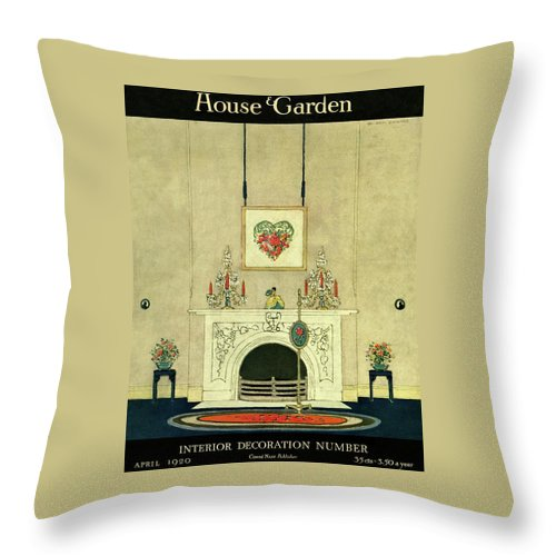 Illustration Throw Pillow featuring the photograph A House And Garden Cover Of A Fireplace by H. George Brandt