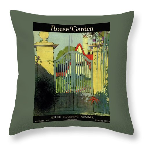 Illustration Throw Pillow featuring the photograph A House And Garden Cover Of A Gate by H. George Brandt