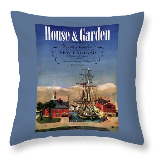 Illustration Throw Pillow featuring the photograph A House And Garden Cover Of A Model Ship by Louis Bouche