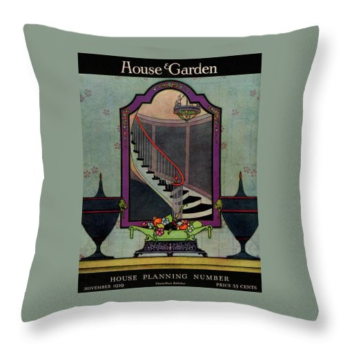 Illustration Throw Pillow featuring the photograph A House And Garden Cover Of A Staircase by Harry Richardson