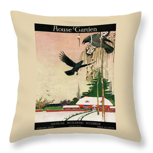Illustration Throw Pillow featuring the photograph A House And Garden Cover Of Crows By A House by Charles Livingston Bull