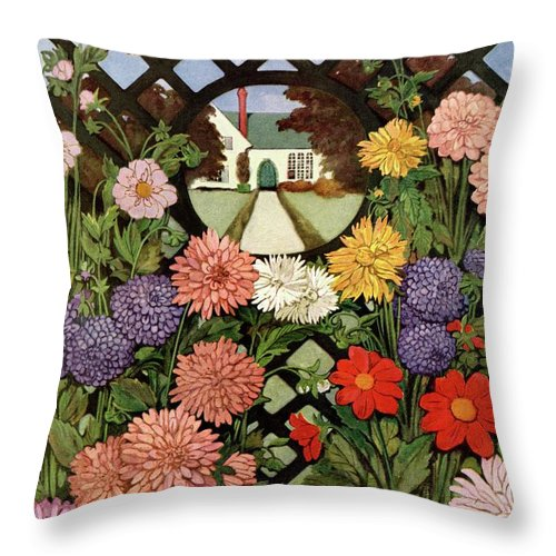 Illustration Throw Pillow featuring the photograph A House And Garden Cover Of Flowers by Ethel Franklin Betts Baines
