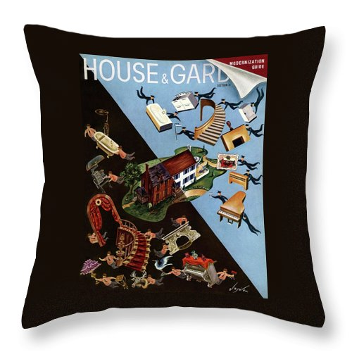 Illustration Throw Pillow featuring the photograph A House And Garden Cover Of People Moving House by Constantin Alajalov