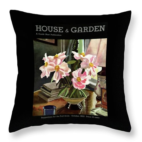 Illustration Throw Pillow featuring the photograph A House And Garden Cover Of Rhododendrons by David Payne