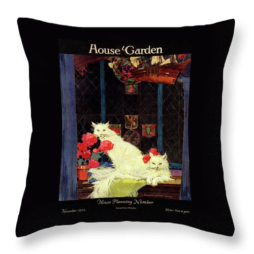 Illustration Throw Pillow featuring the photograph A House And Garden Cover Of White Cats by Bradley Walker Tomlin