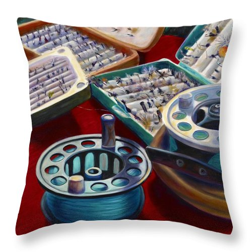 Still Life Throw Pillow featuring the painting A Howard Runs Through It by Shannon Grissom