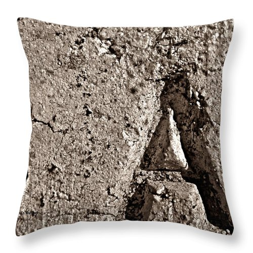 Script Throw Pillow featuring the photograph A In Clay by Chris Berry