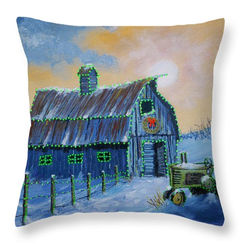 Christmas Throw Pillow featuring the painting A John Deere Green Christmas by Jerry McElroy
