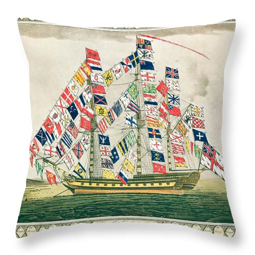 Vessel; Sailing Ship; Flag; National Flags; Standard; National; Identification; Identity; Symbol; Symbols; Ensign; Banner; Emblem; Mast; Flagship; United; Nations; Diverse; Diversity; Cheerful; Jolly; Harmony Throw Pillow featuring the painting A King S Ship Dressed With The Colours Of Different Nations 6th October 1794 by English School