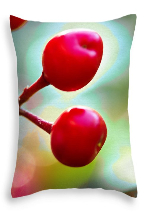 Red Berries Throw Pillow featuring the photograph A Kiss Of Spring  A Promise Of Summer by Marie Jamieson