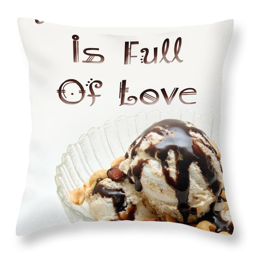 Ice Cream Sundae Throw Pillow featuring the digital art A Kitchen Is Full Of Love 13 by Andee Design
