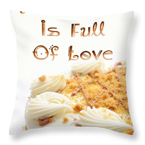 Cake Throw Pillow featuring the digital art A Kitchen Is Full Of Love 8 by Andee Design